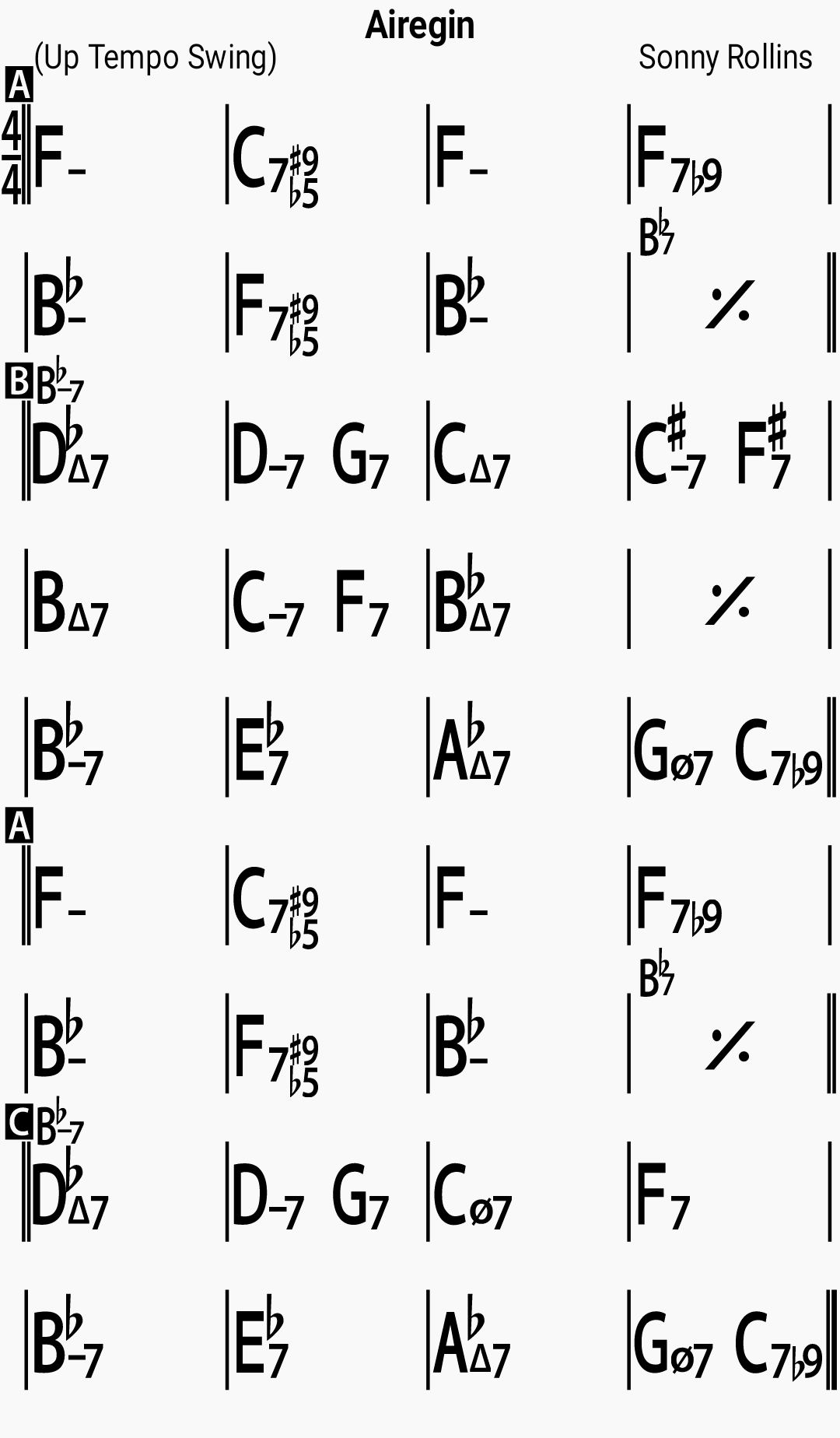 Chord chart for the jazz standard Airegin