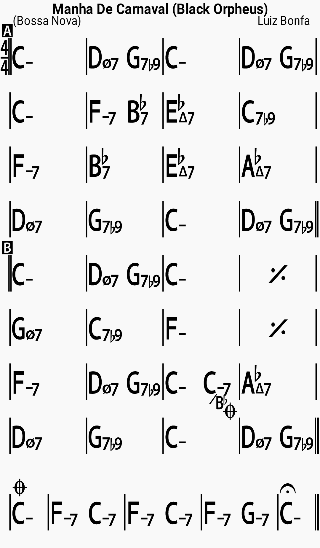 Chord chart for the jazz standard Black Orpheus