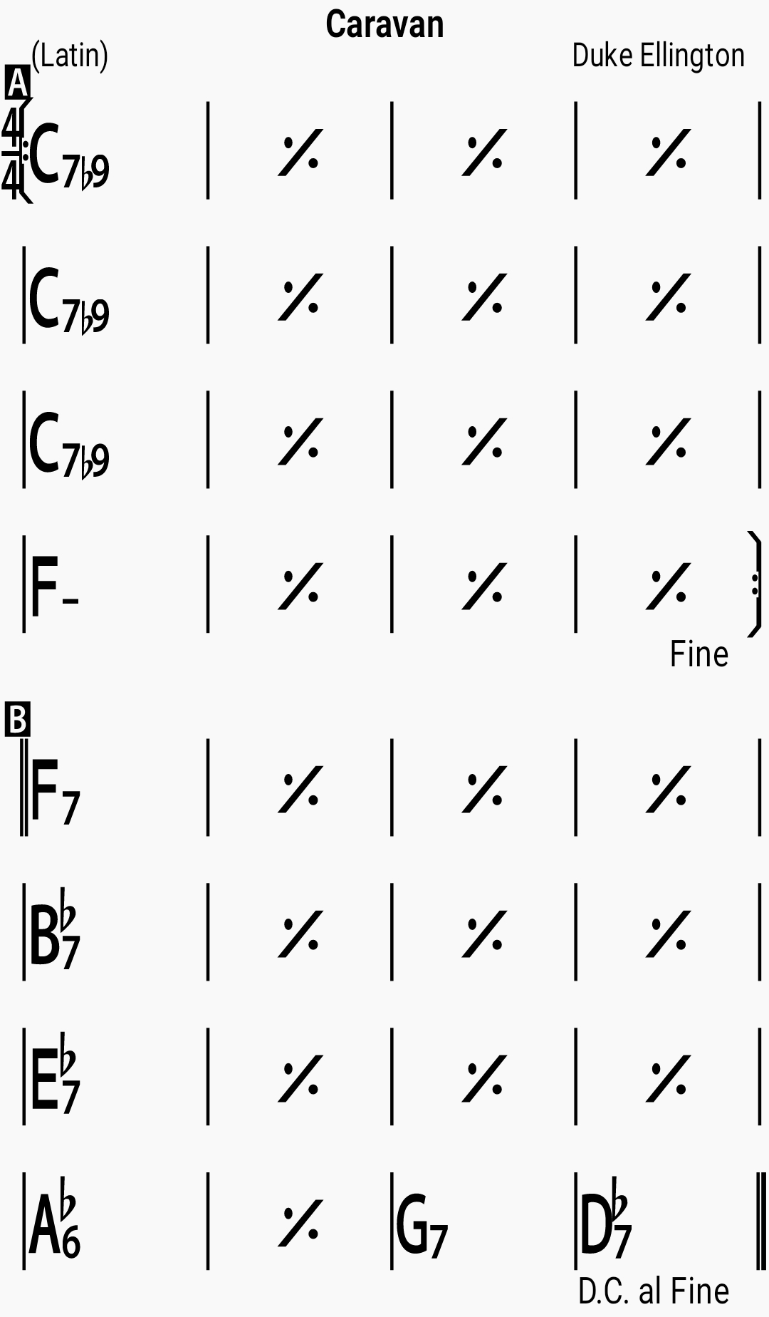 Chord chart for the jazz standard Caravan