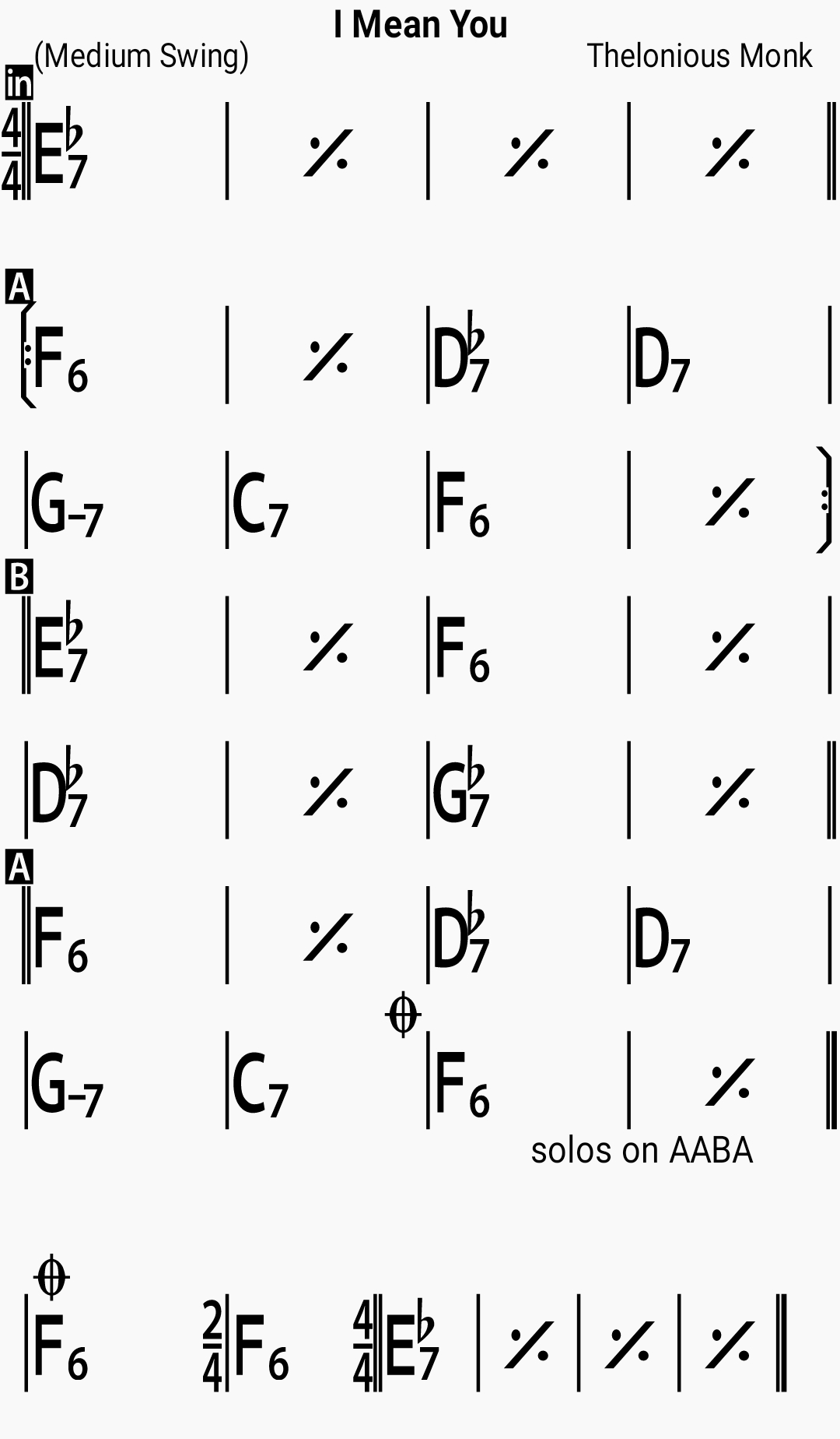 Chord chart for the jazz standard I Mean You