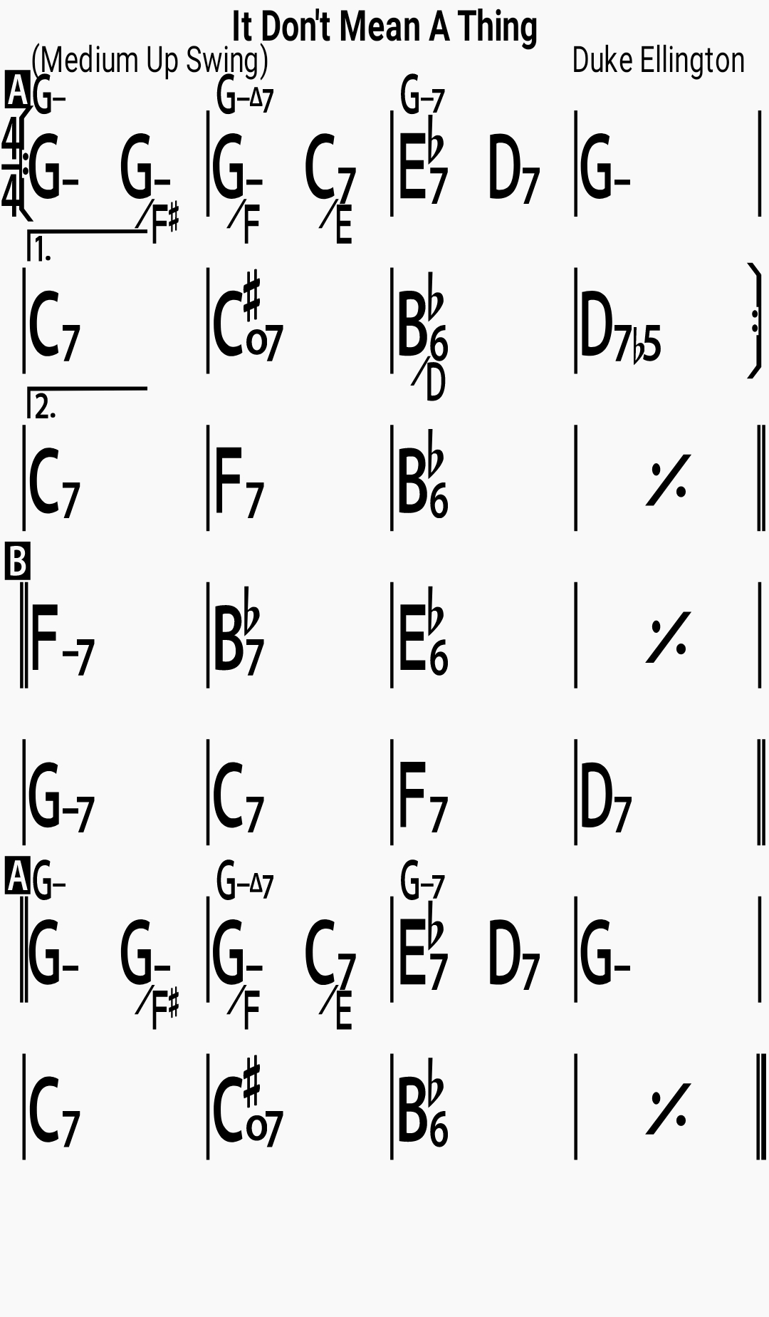 Chord chart for the jazz standard It Don't Mean A Thing