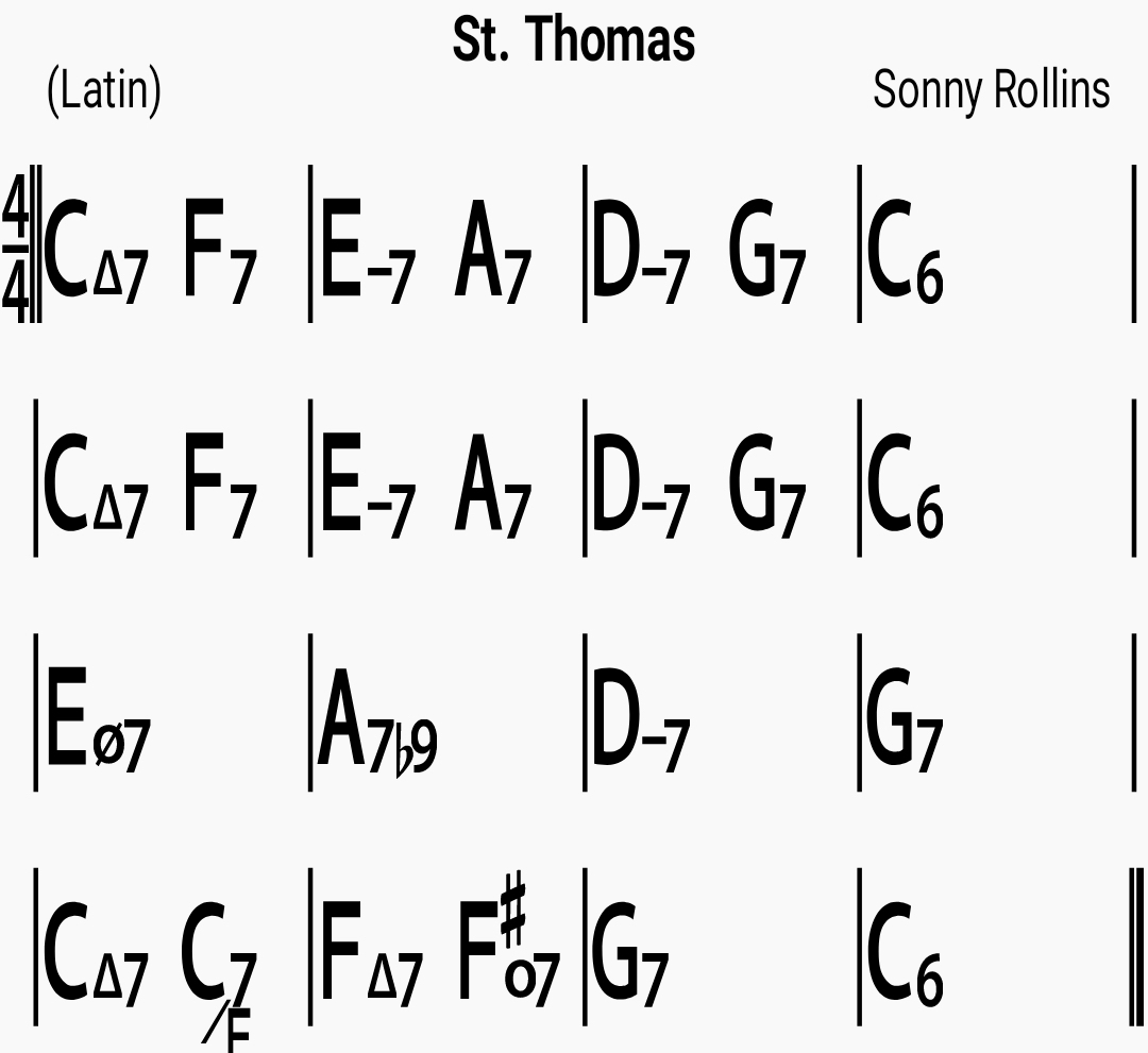 Chord chart for the jazz standard St. Thomas