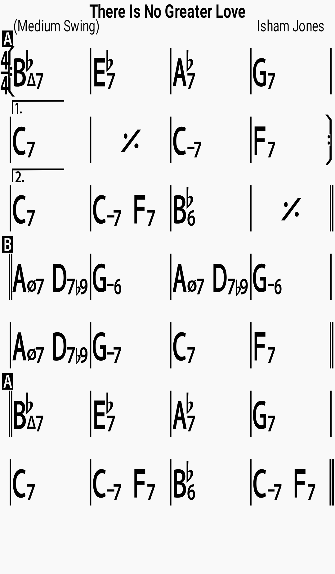 Chord chart for the jazz standard There Is No Greater Love