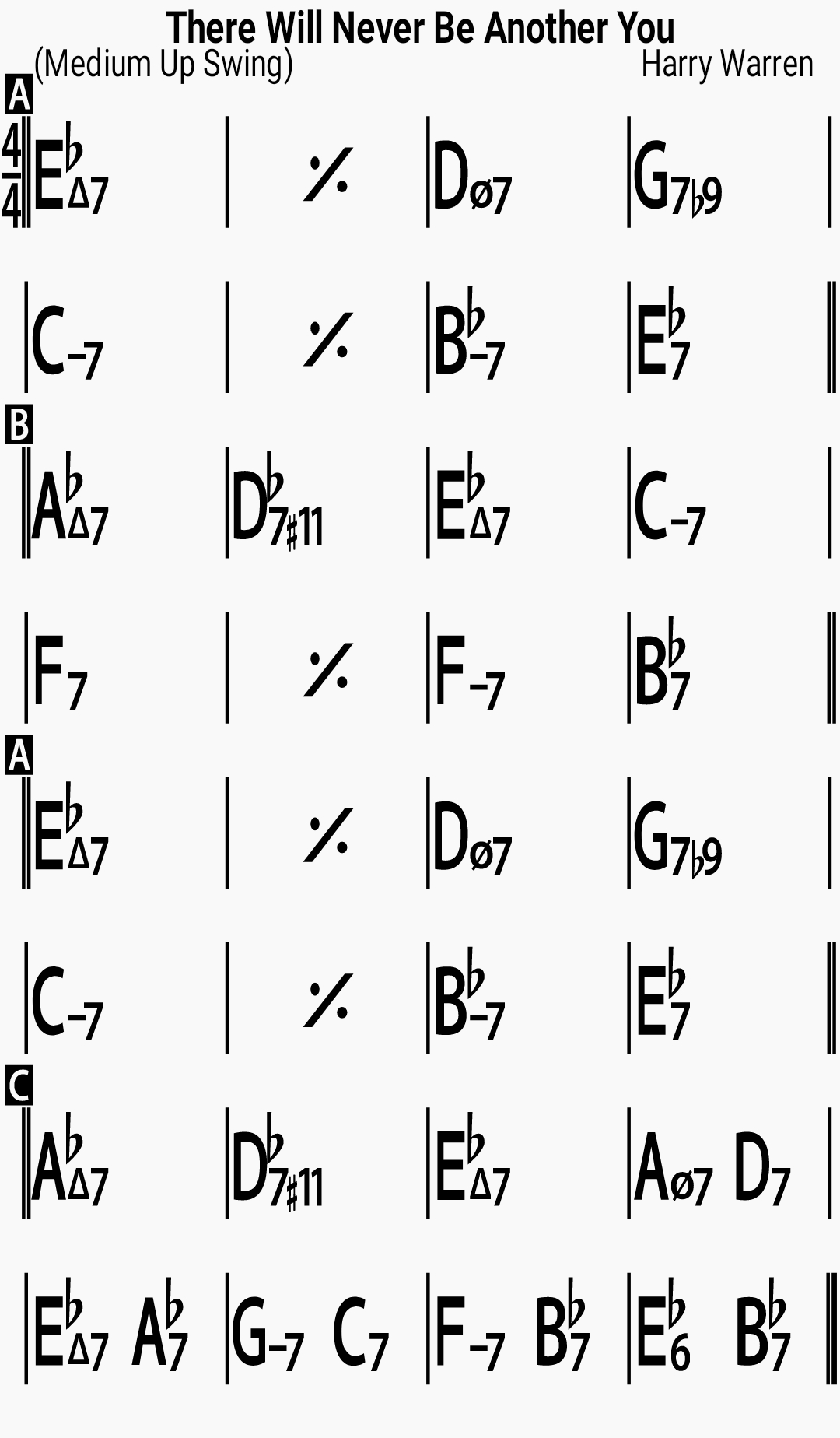 Chord chart for the jazz standard There Will Never Be Another You